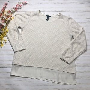 Style & Co Ivory Gold Pullover Mixed Media Sweater